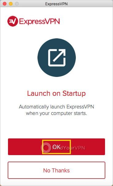 The ExpressVPN window with the autostart option