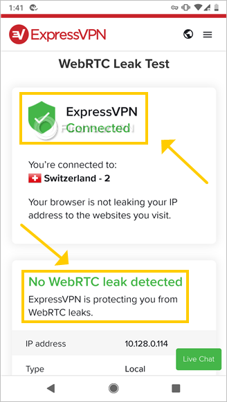 The ExpressVPN page shows WebRTC leak test results