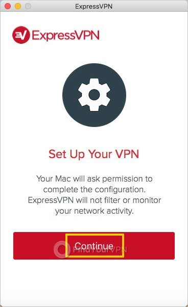The ExpressVPN window prepares to set up your VPN