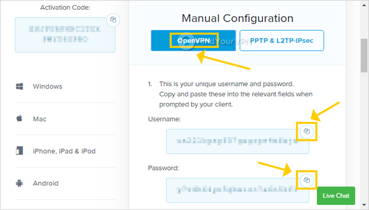 The ExpressVPN setup page highlights the manual config option with OpenVPN