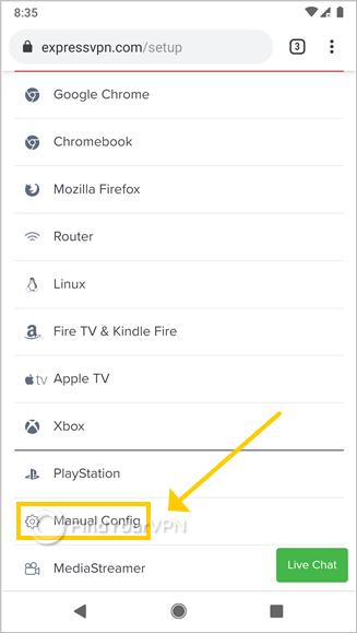 "ExpressVPN shows the setup page with ""Manual config"" option"