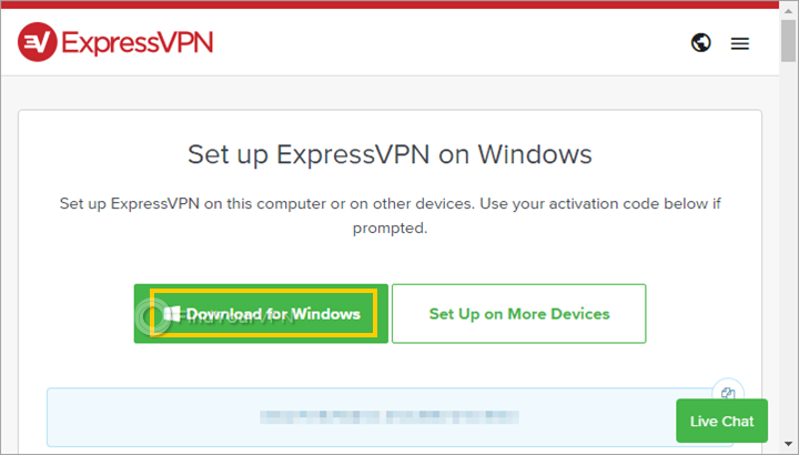 """The ExpressVPN subscriptions page with """"Download for Windows"""" button"""