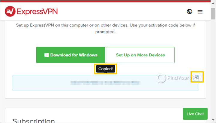 The ExpressVPN subscriptions page for copying the activation code