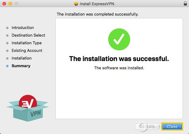 The ExpressVPN window says installation was successful