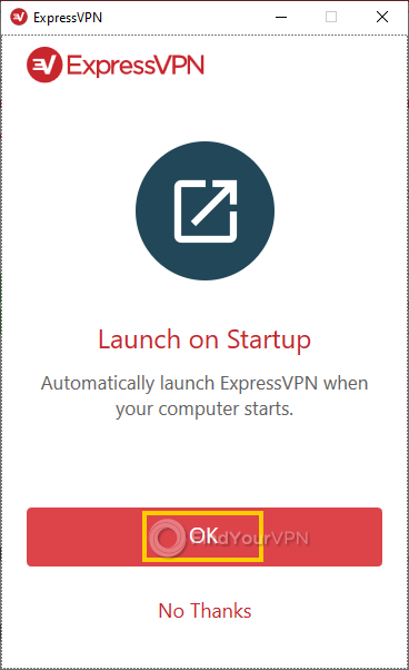 The ExpressVPN window with the autostart option
