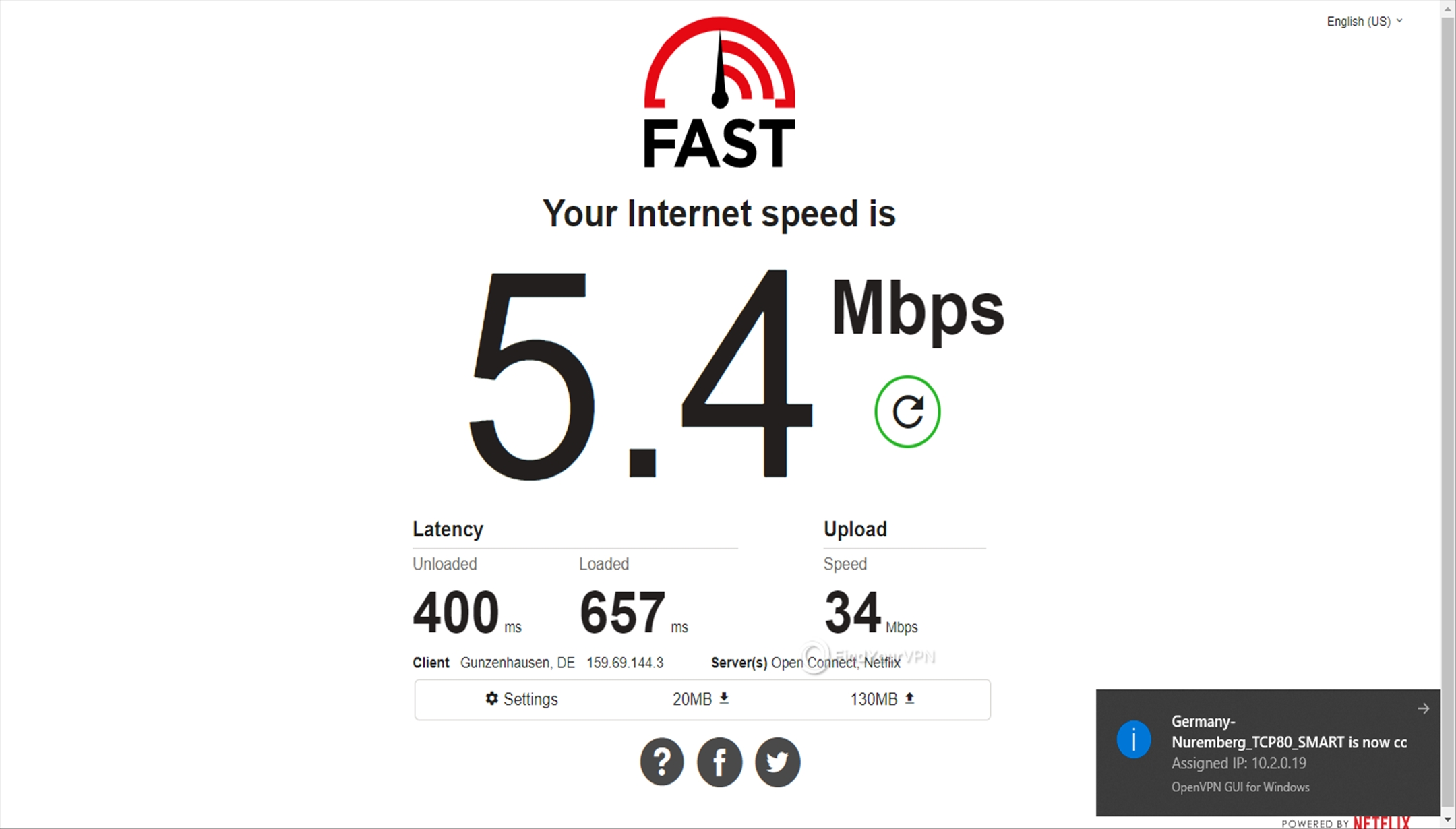 Getflix Germany 5.4 Mbps speed