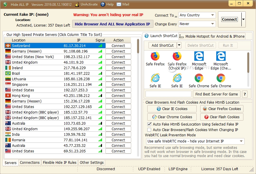 The main window of Hide ALL IP