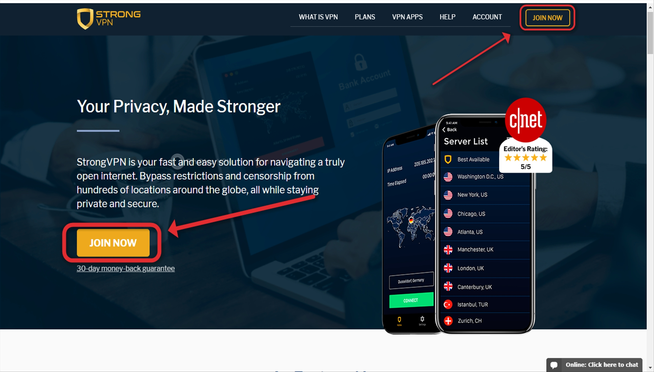 "The ""Join Now"" buttons on StrongVPN's website"