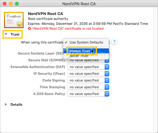 macOS shows the root CA properties window for NordVPN