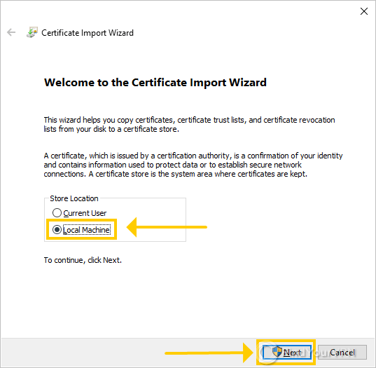 """The NordVPN Certificate Import wizard highlights the """"Local Machine"""" option"""