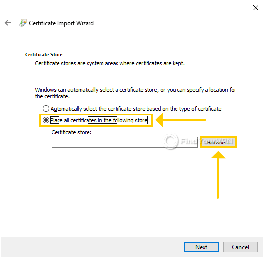 """The Windows Certificate Store section highlights the """"Place all certificates in the following store"""" option"""