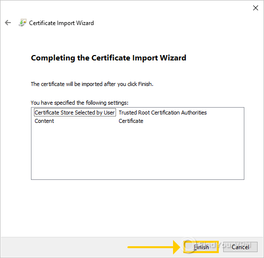 The last wizard step for the Certificate Import Wizard with NordVPN