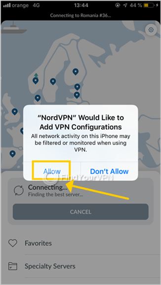 NordVPN for iOS requests permission to add VPN configurations