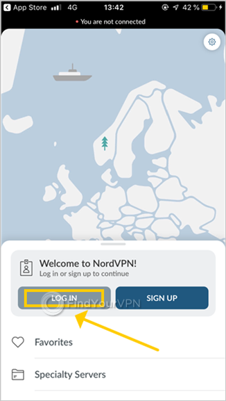 The NordVPN for iOS welcome screen highlights the LOGIN button