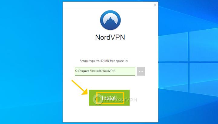 The NordVPN install location window