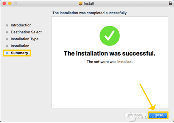 The NordVPN installer for macOS shows the installation successful message