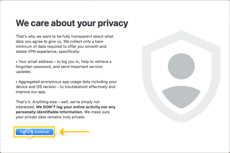 NordVPN displays the privacy policy window at startup