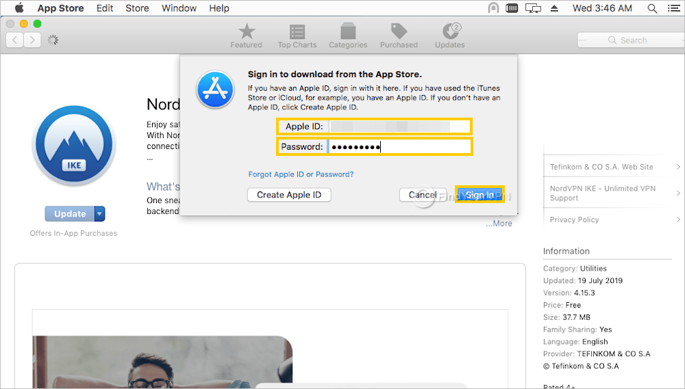 Mac App Store asks you to sign in using your Apple ID
