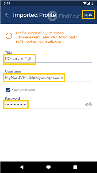 OpenVPN Connect for Android shows properties for editing the NordVPN profile
