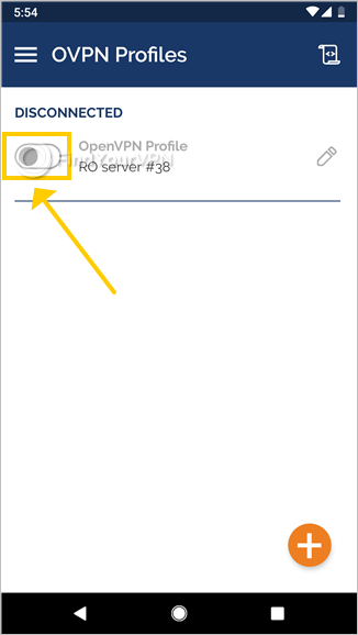 OpenVPN Connect for Android connects to a VPN profile