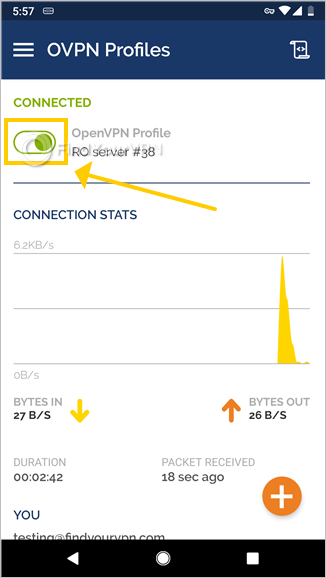 OpenVPN Connect for Android is connected to a VPN profile