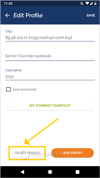 "OpenVPN Connect for Android shows the editing mode for the NordVPN profile and highlights the ""Delete Profile"" button"