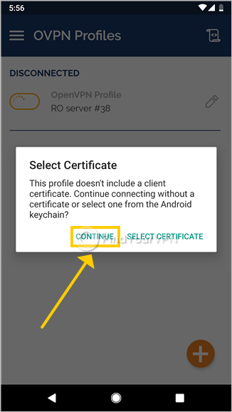 OpenVPN Connect for Android asks you to select a certificate