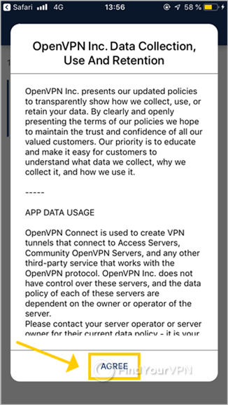 OpenVPN Connect for iOS shows the app data usage policy