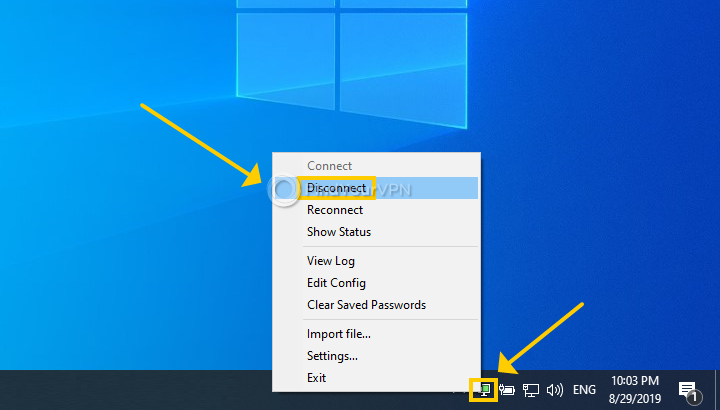 """OpenVPN has the right-click menu of the systray icon opened and highlights the """"Disconnect"""" option"""