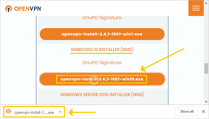 The OpenVPN site shows the downloads page
