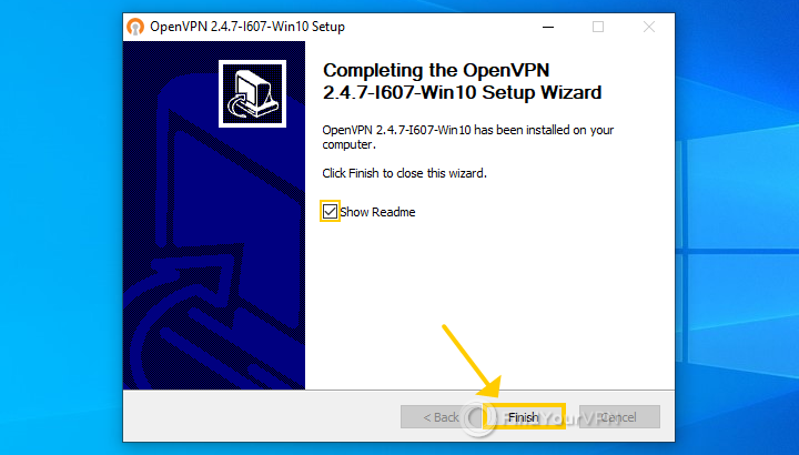 The OpenVPN setup shows the last wizard page