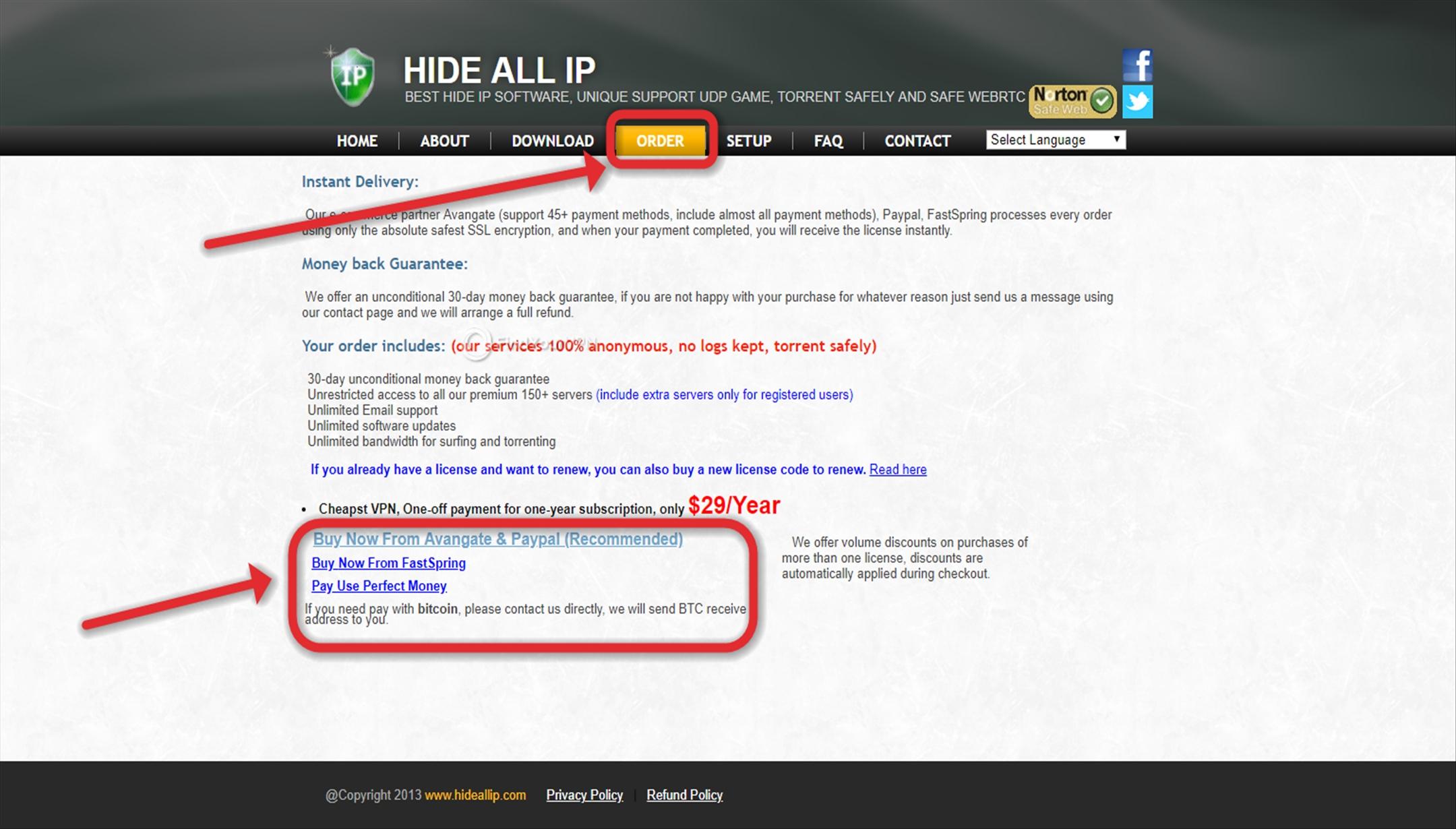 Ordering Hide ALL IP