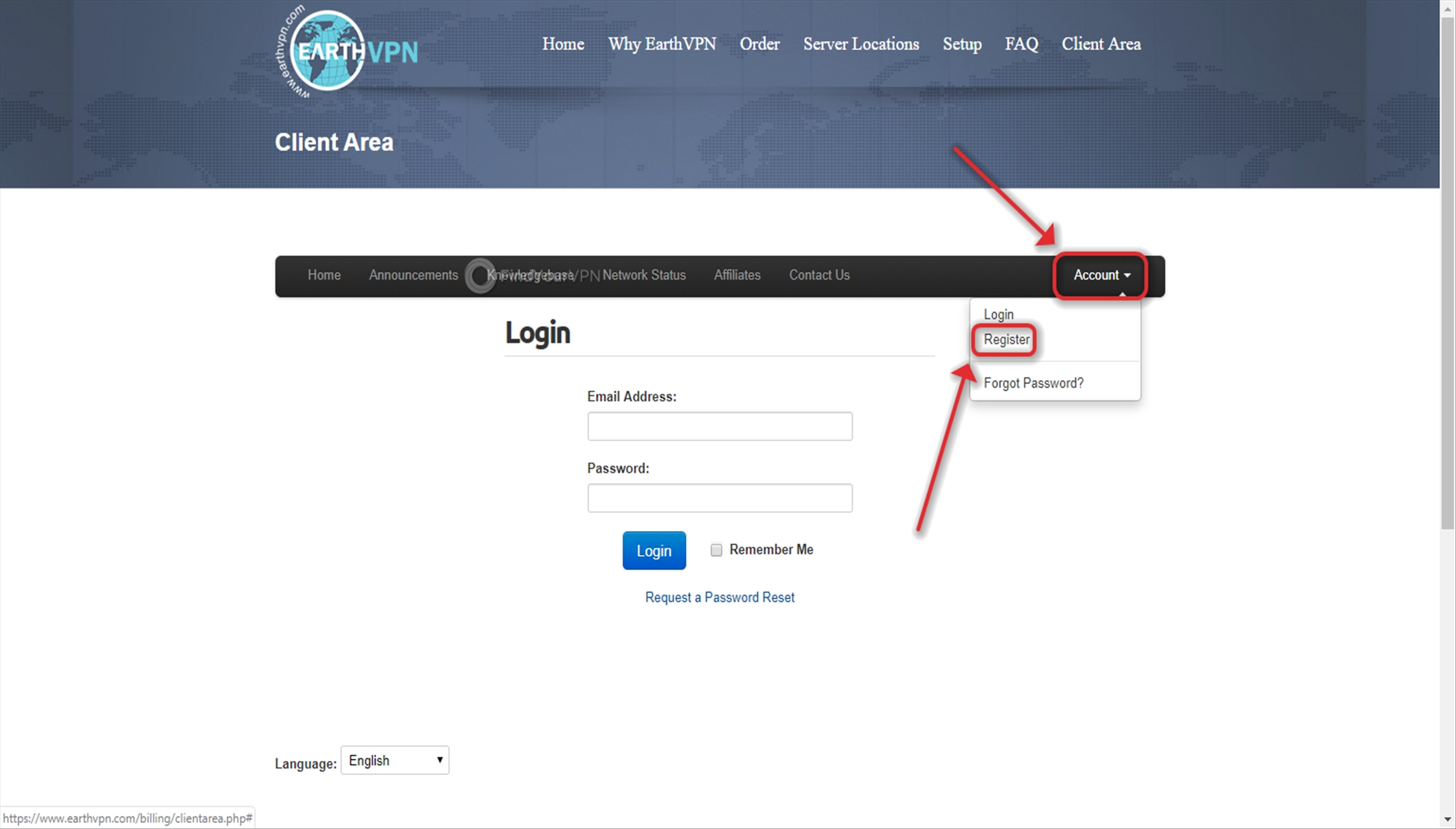 "Use the ""account"" menu to get to EarthVPN's register button"