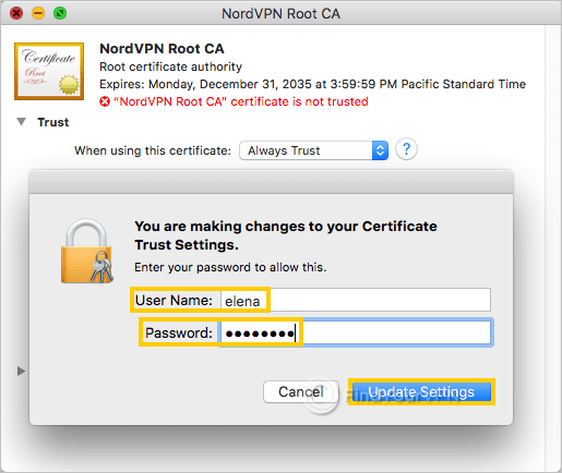 macOS requires your credentials to confirm root CA changes