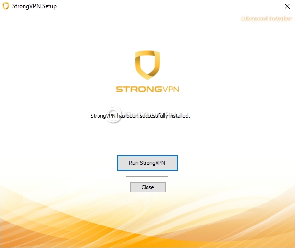 The final screen of StrongVPN's installer