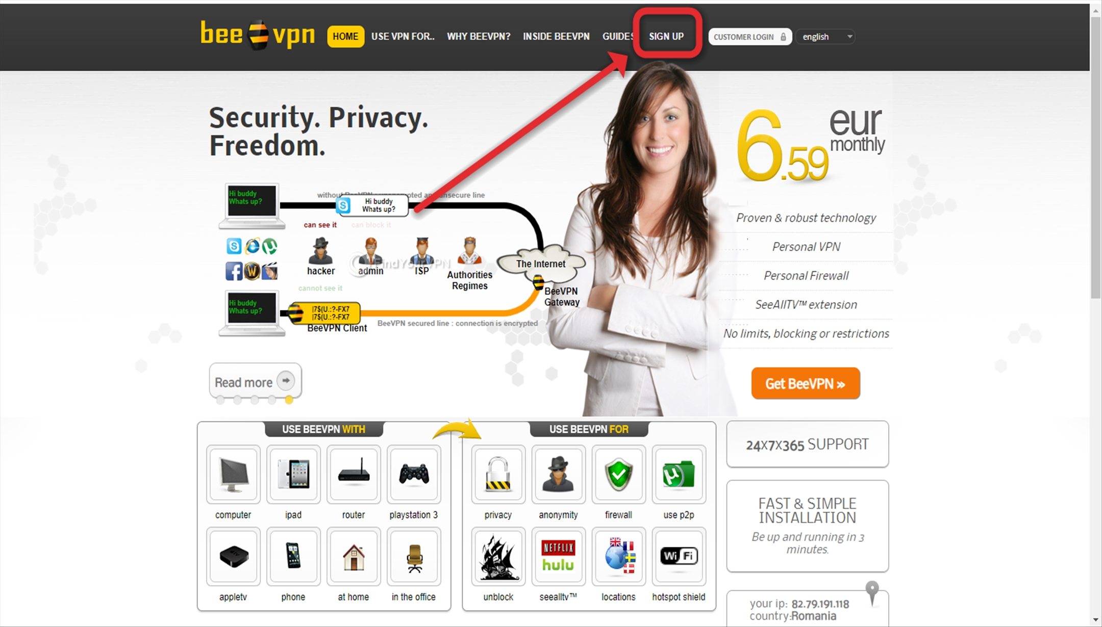 The Sign Up button on the BeeVPN website