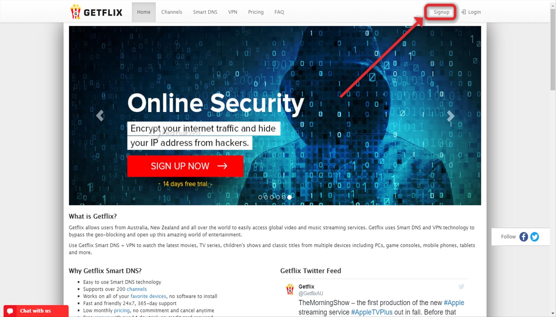 Signup button on Getflix website