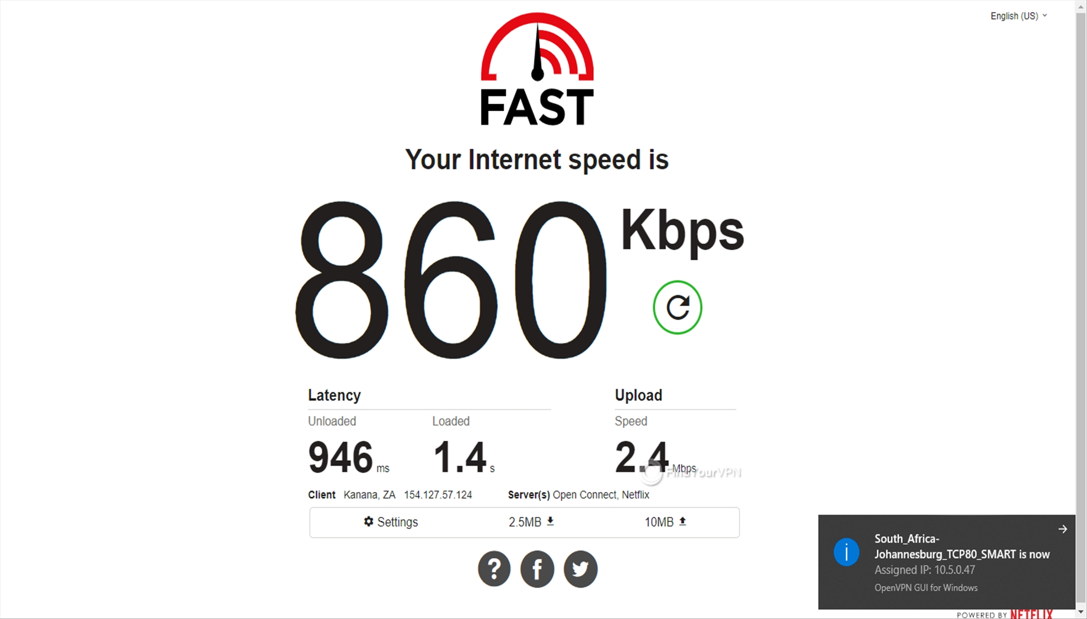 Getflix South Africa 860 Kbps speed
