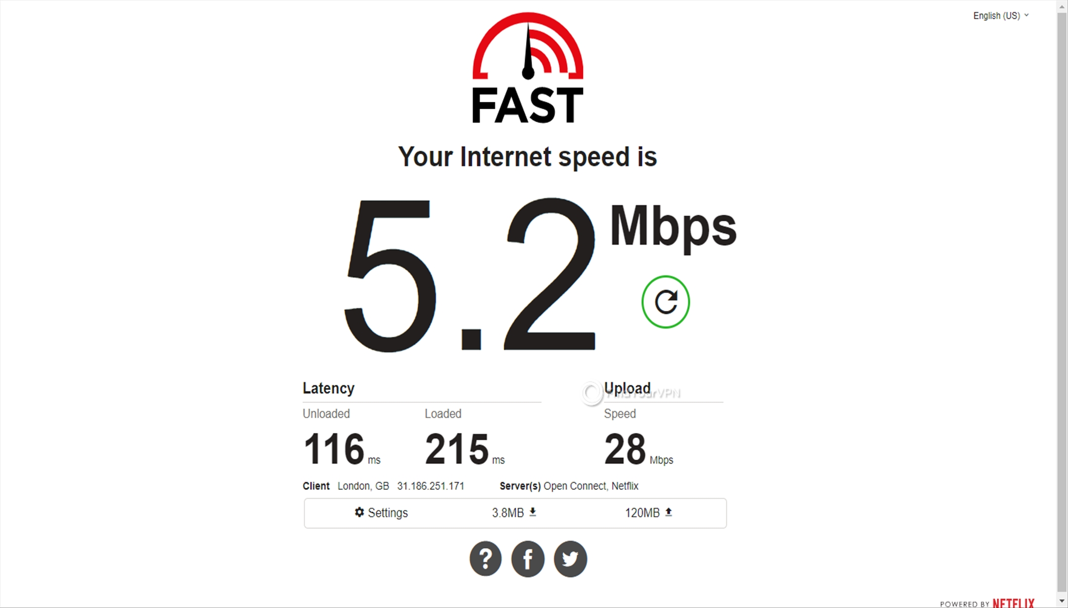 Germany EarthVPN speed test 5.2 Mbps