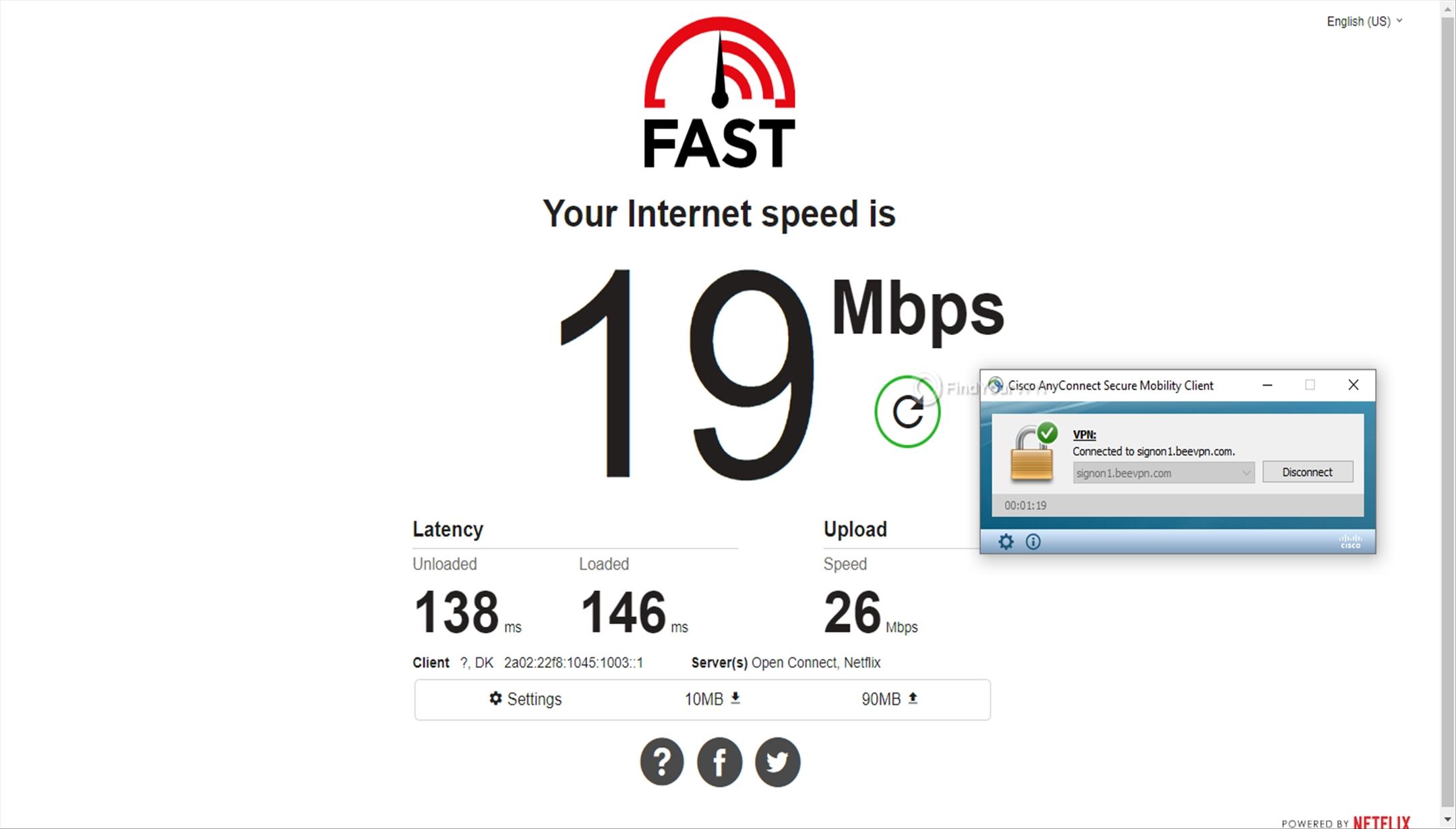 BeeVPN speed test Denmark 19 Mbps