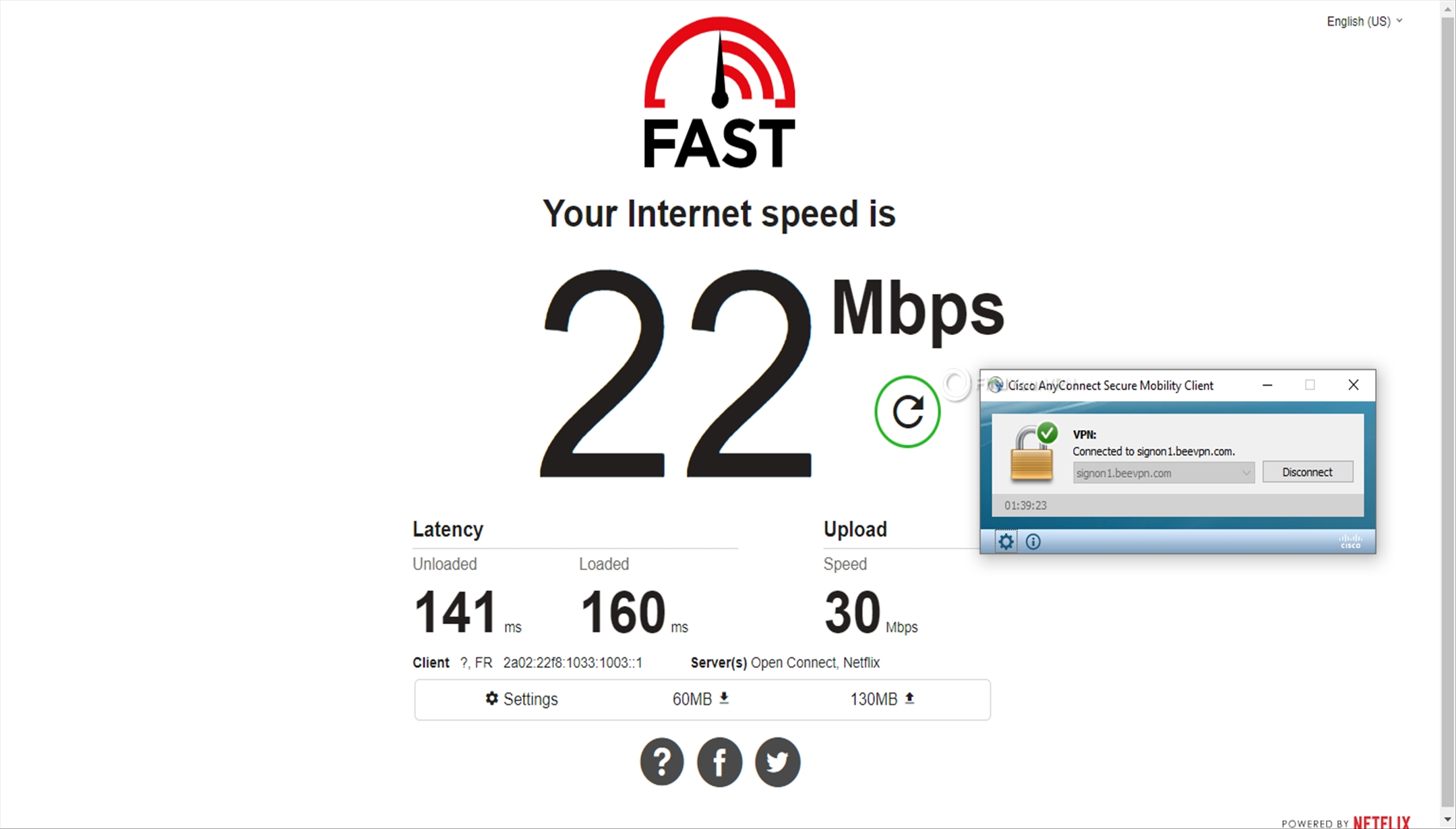 BeeVPN speed test France 22 Mbps