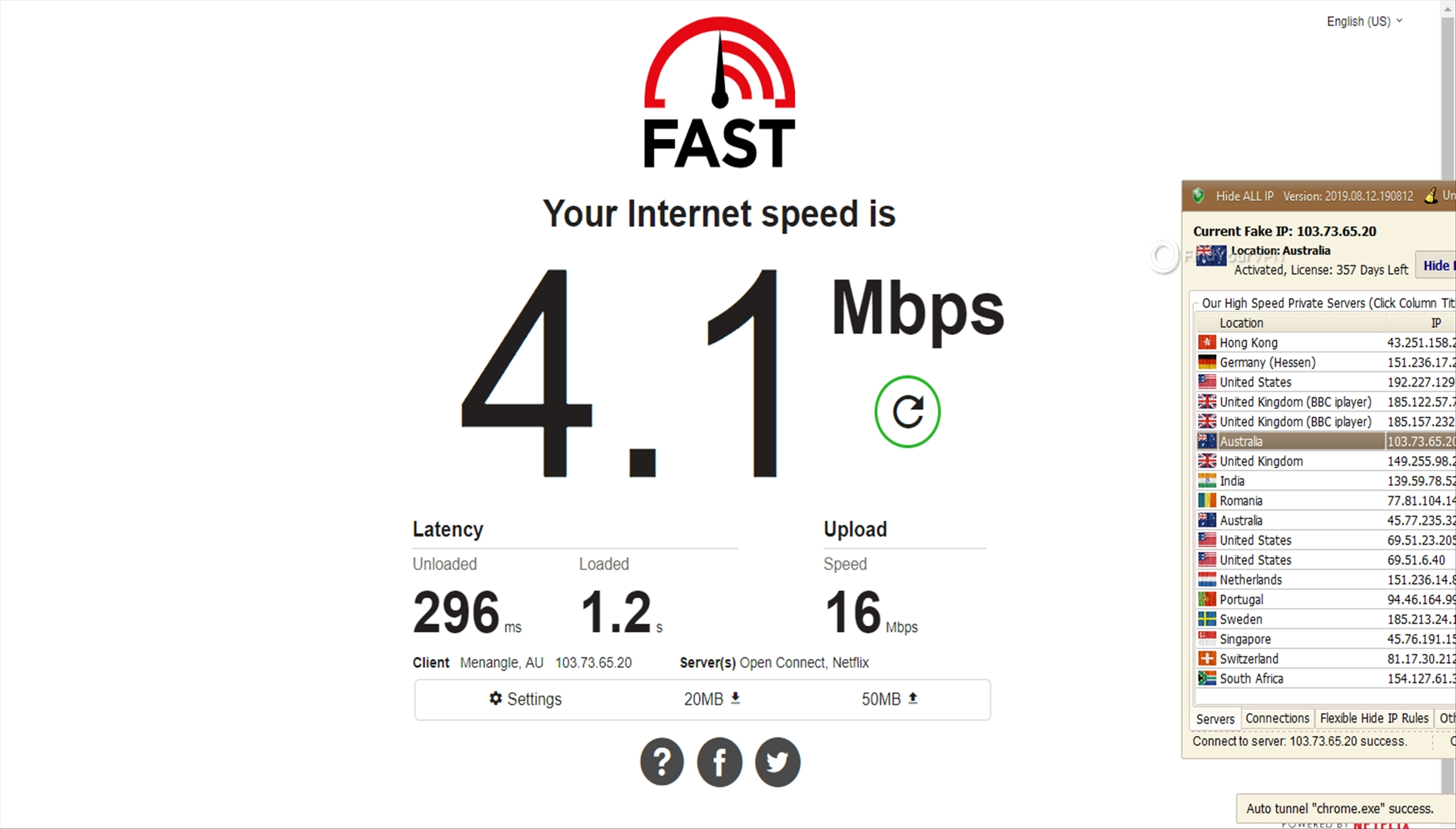 The Hide ALL IP Australia server speed results