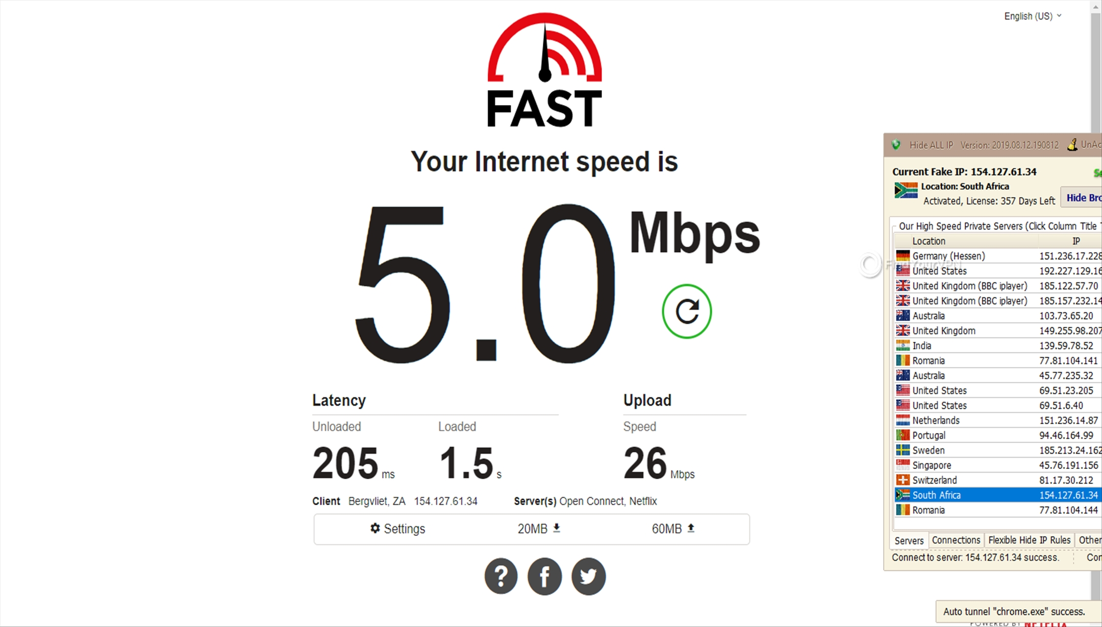 The Hide ALL IP South Africa server speed results