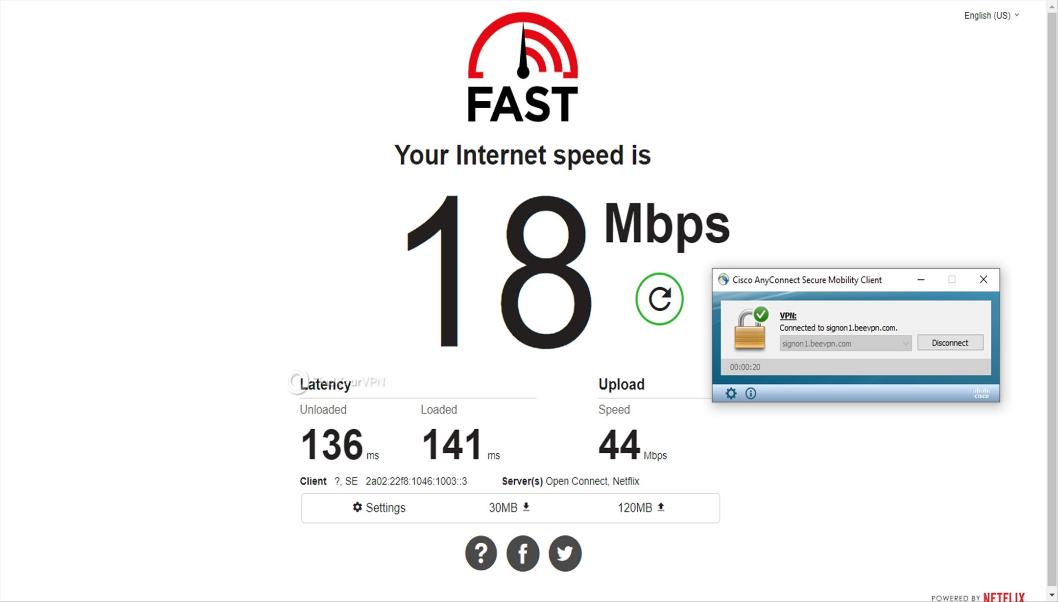 Speed test Sweden BeeVPN