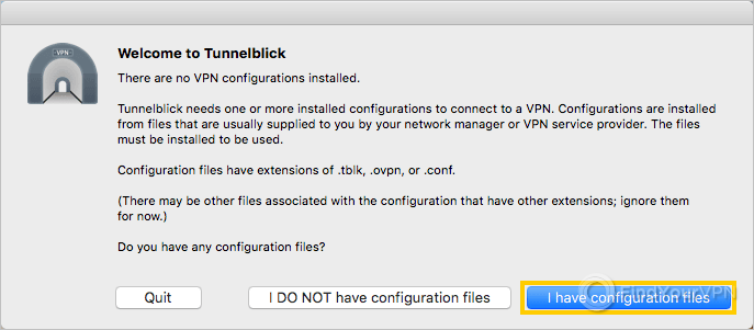 The Tunnelblick dialog with information about configuration files