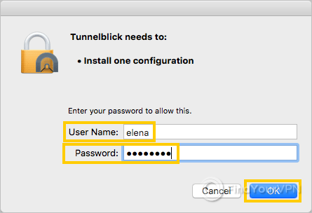 The Tunnelblick window requires your macOS credentials to install one configuration