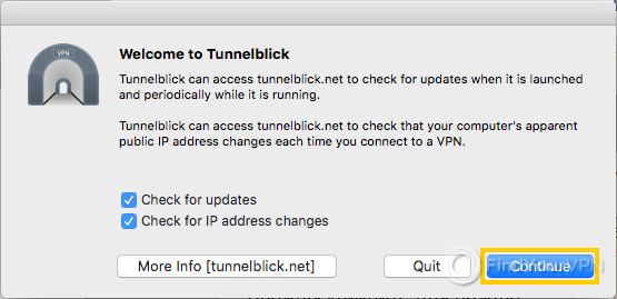 The Tunnelblick welcome dialog