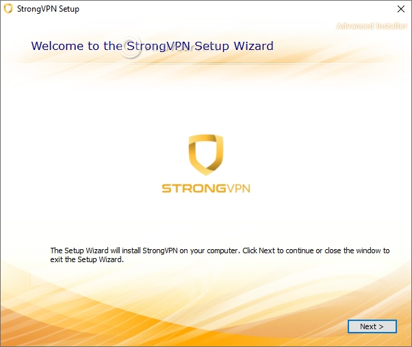 Initial setup screen for StrongVPN