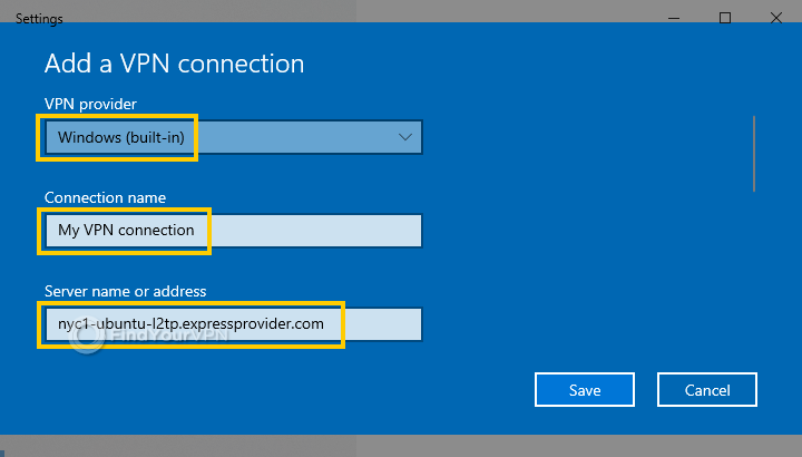 The Windows 10 VPN settings for provider, connection and server