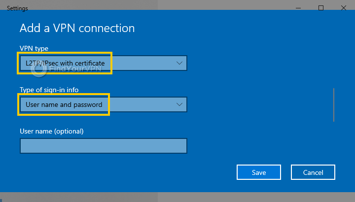The Windows 10 VPN settings window with protocol and sign-in type